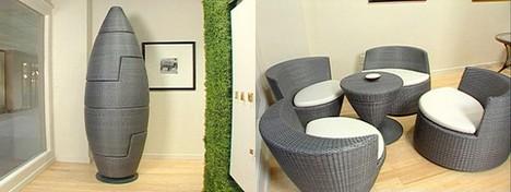 Компактен комплект от ратанови мебели