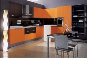 Избор на мебели за кухнята в оранжево